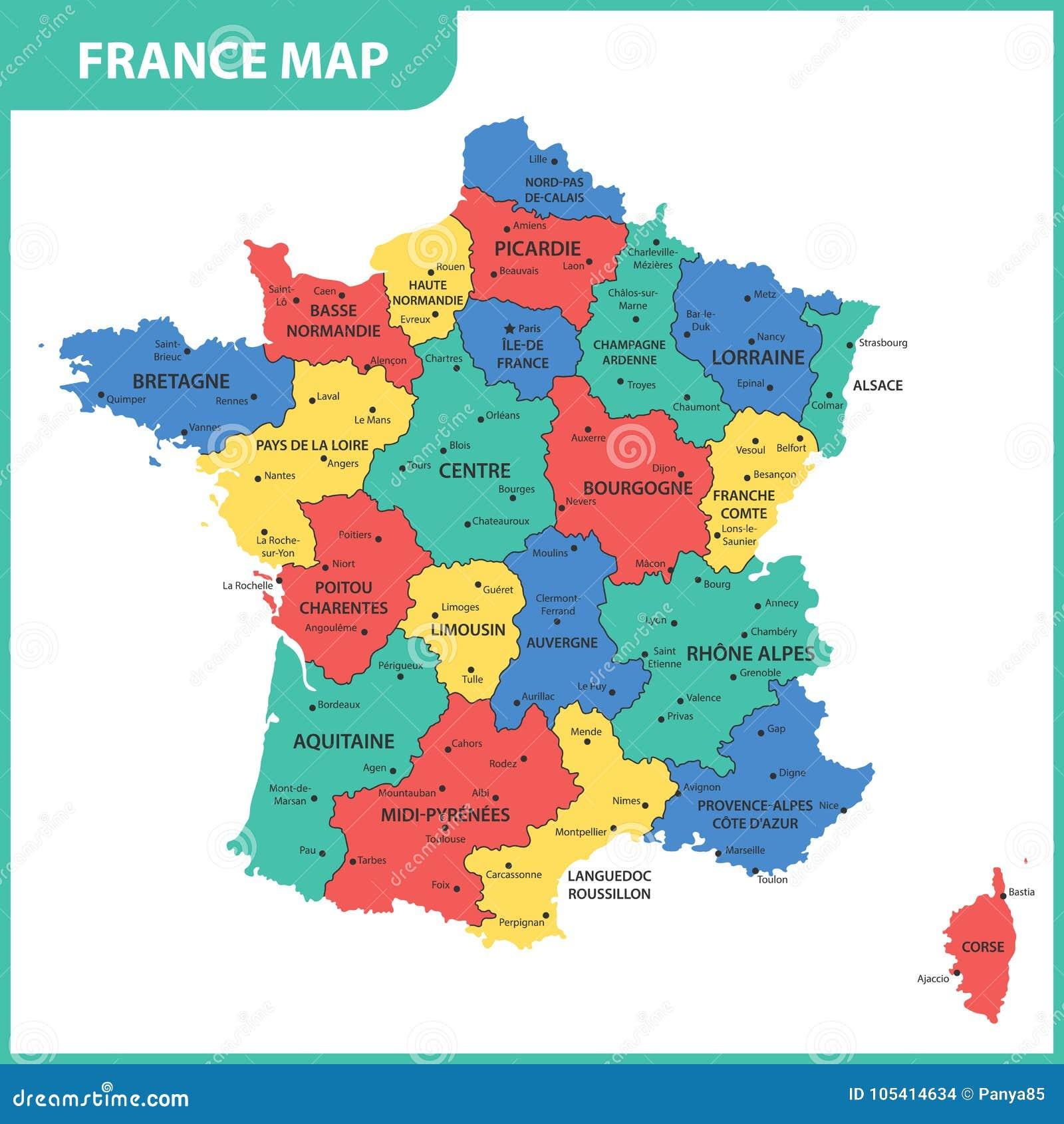 Den Detaljerade Oversikten Av Frankrike Med Regioner Eller