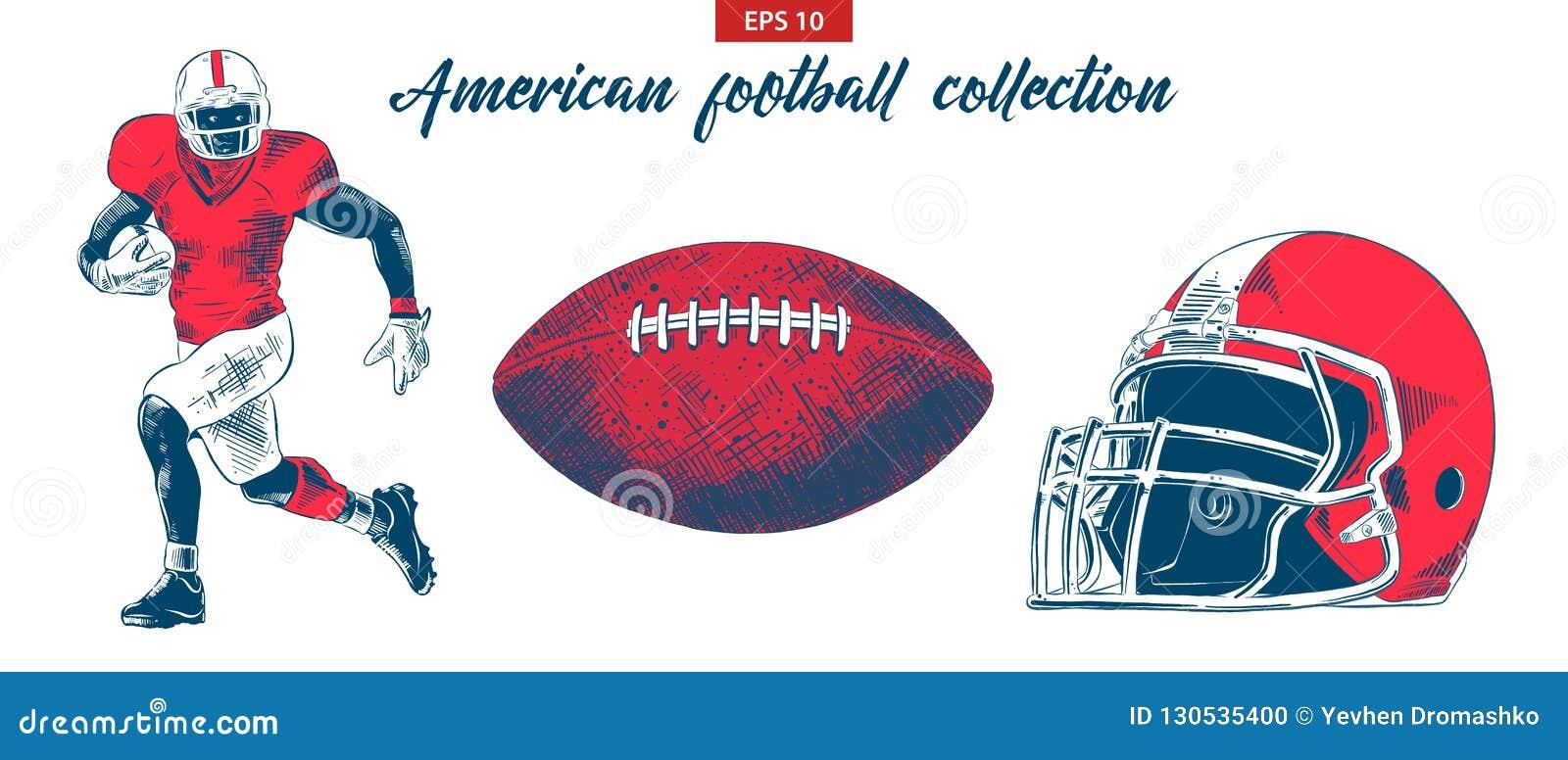 Den drog handen skissar av den amerikanska fotbollsspelare-, boll- och hjälmuppsättningen som isoleras på vit bakgrund Detaljerad