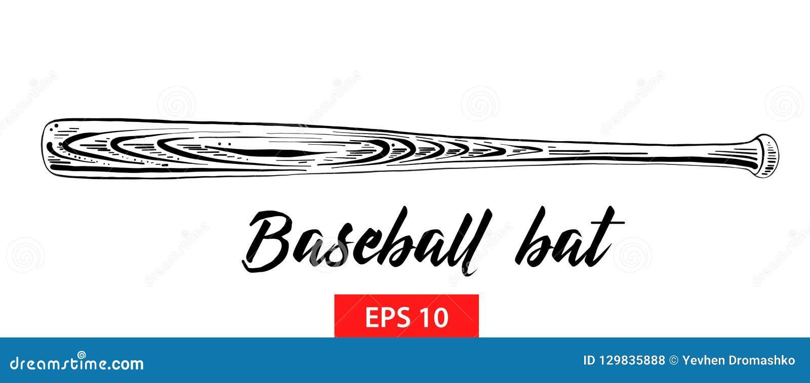 Den drog handen skissar av baseballslagträet i svart som isoleras på vit bakgrund Detaljerad teckning för tappningetsningstil