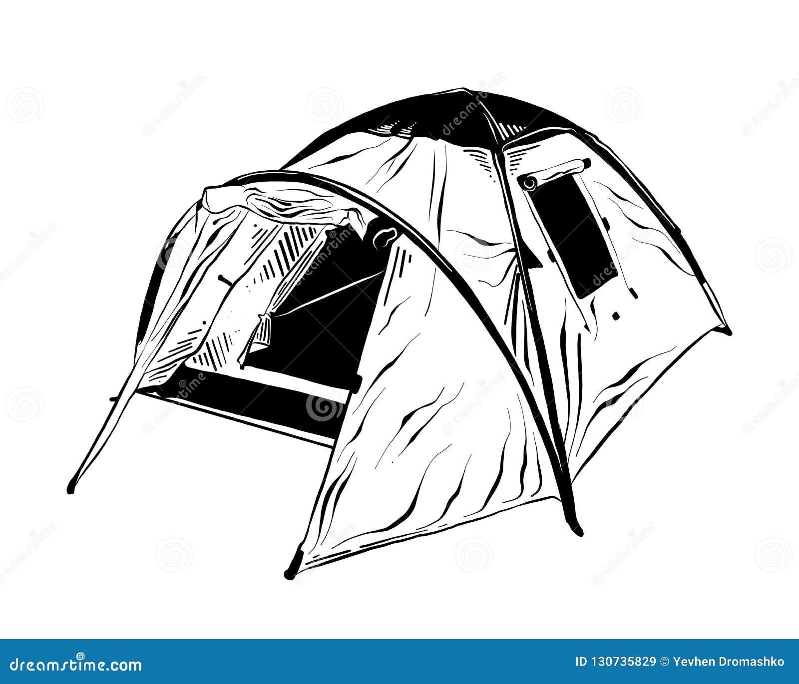 Den drog handen skissar av det campa tältet i svart som isoleras på vit bakgrund Detaljerad teckning för tappningetsningstil