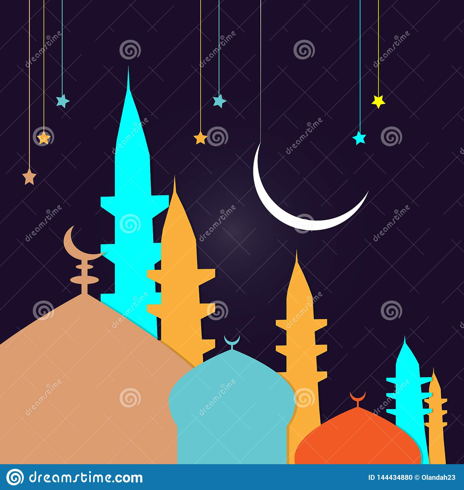Den drog handen skissar av kupol f?r Ramadan Kareem islamisk designmosk?