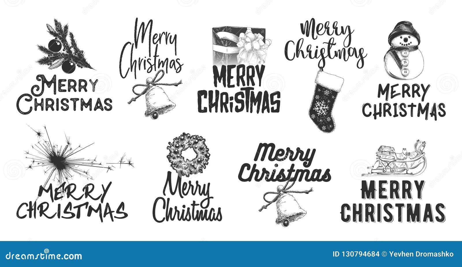 Den drog handen skissar ferie för fastställd jul och för nytt år på vit bakgrund Detaljerad tappningetsningteckning