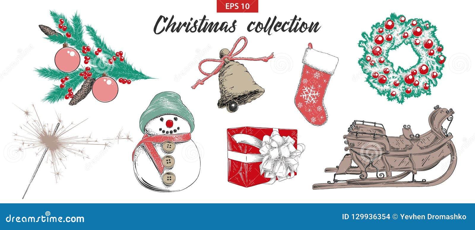 Den drog handen skissar ferieobjekt för fastställd jul som och för det nya året isoleras på vit bakgrund Detaljerad tappningetsni
