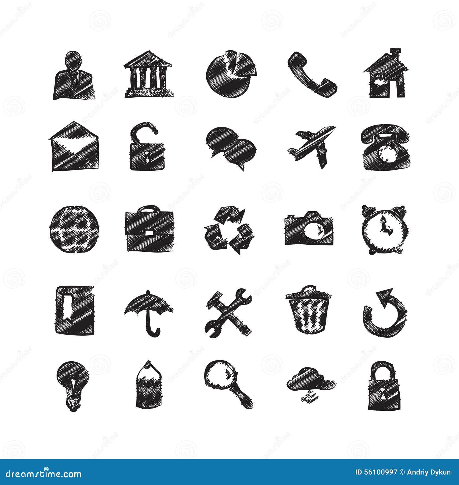 Den drog handen skissar symboler