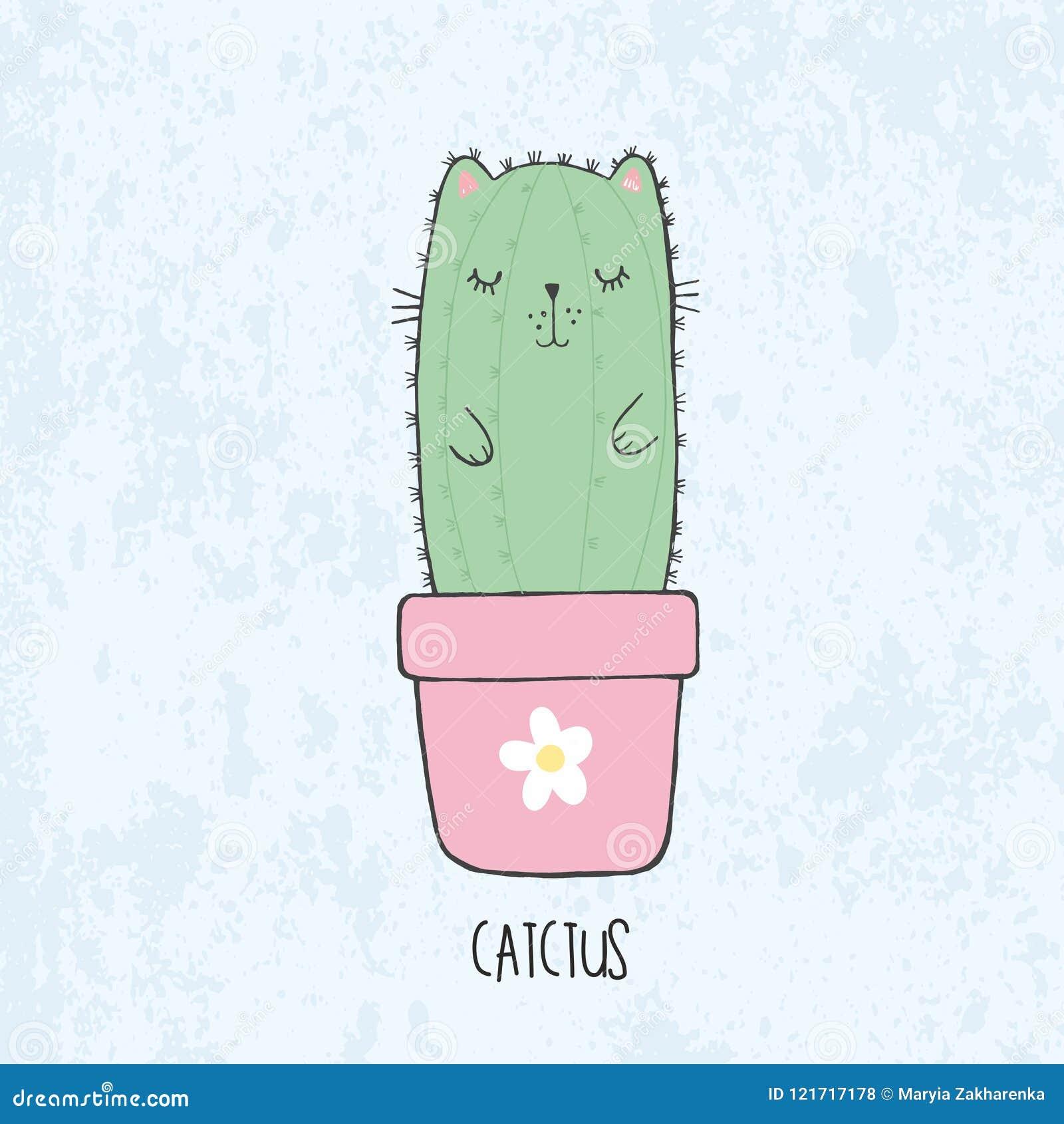 Den drog illustrationen av handen skissar den gulliga kawaiikattkaktuns i en blomkruka med blomman i animestil med bokstävercatct