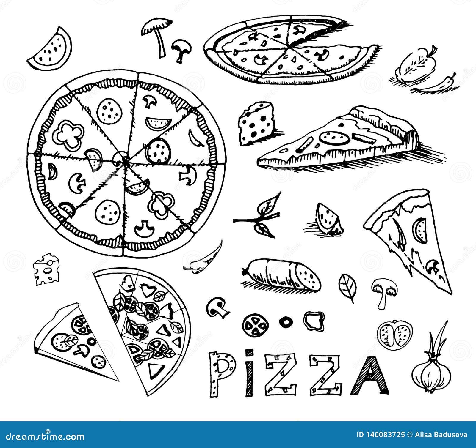 Den drog vektorhanden skissar av pizzaillustration på vit bakgrund