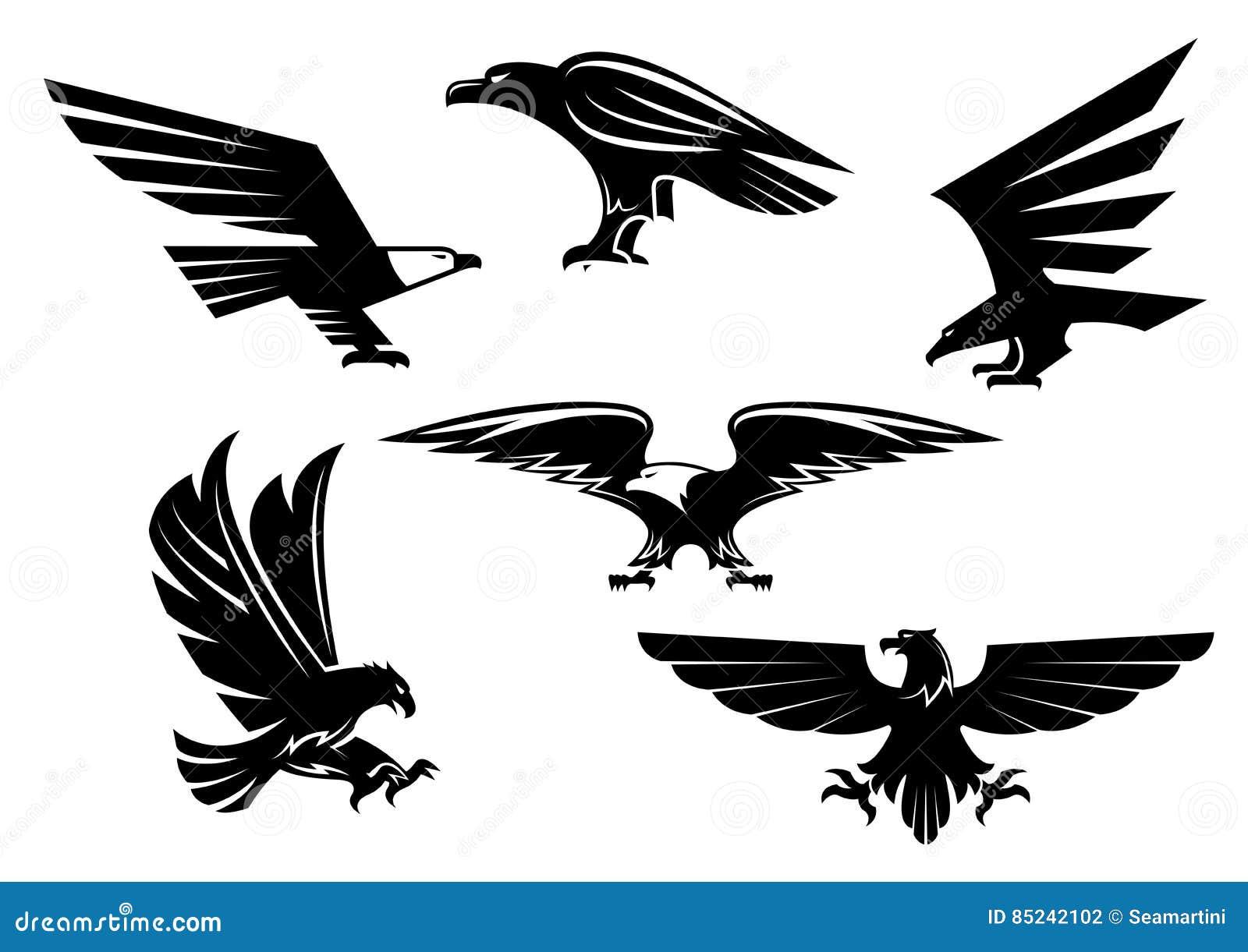 Den Eagle vektorn isolerade symboler, heraldiska fågelemblem
