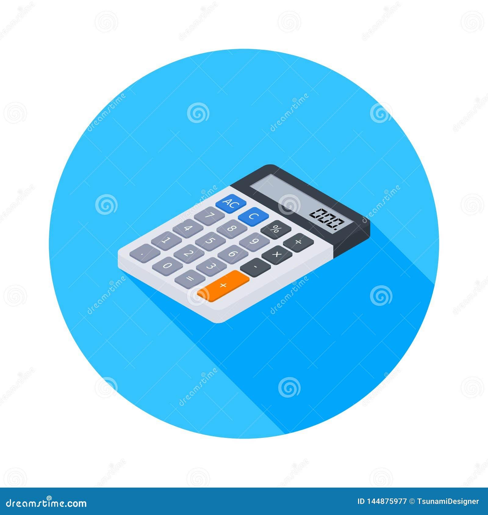 Den elektroniska räknemaskinen som är isometrisk, begrepp beräknar kontofinans, kontorsutrustning, finans, affären, vektorn,