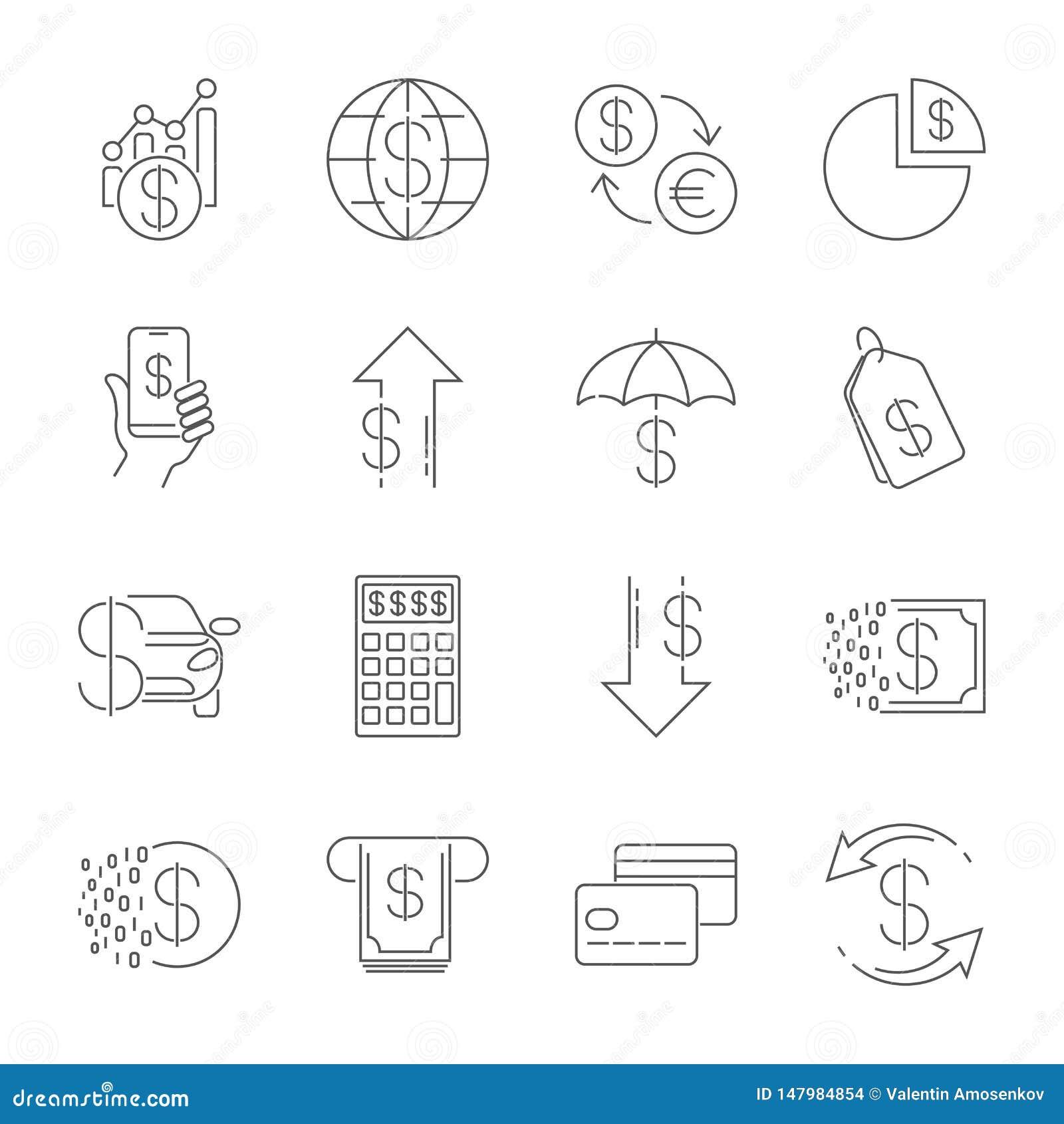 Den enkla linjen rengöringsduksymboler ställde in - pengar, finans, betalningar Innehåller sådana symboler som plånboken, ATM, be