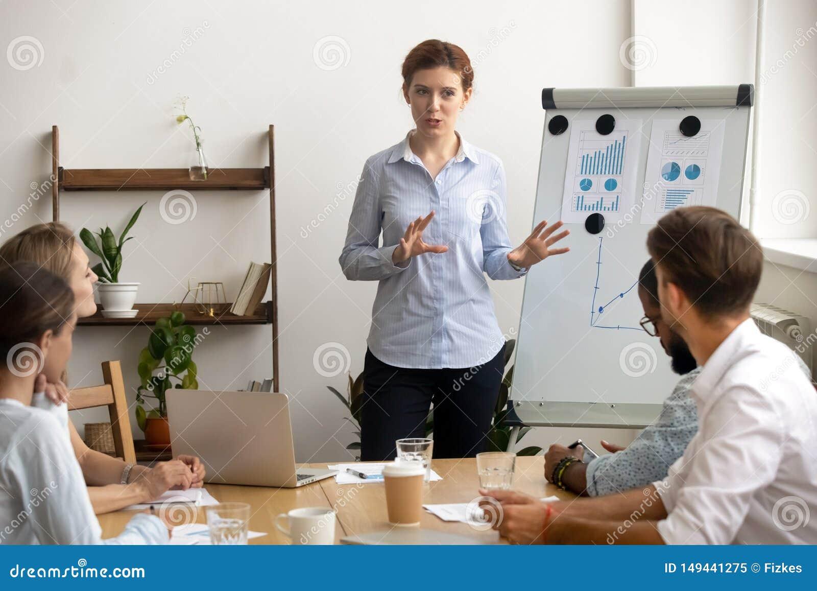Den erfor ambiti?sa aff?rskvinnan ger presentation p? lagm?tet n?ra flipchart