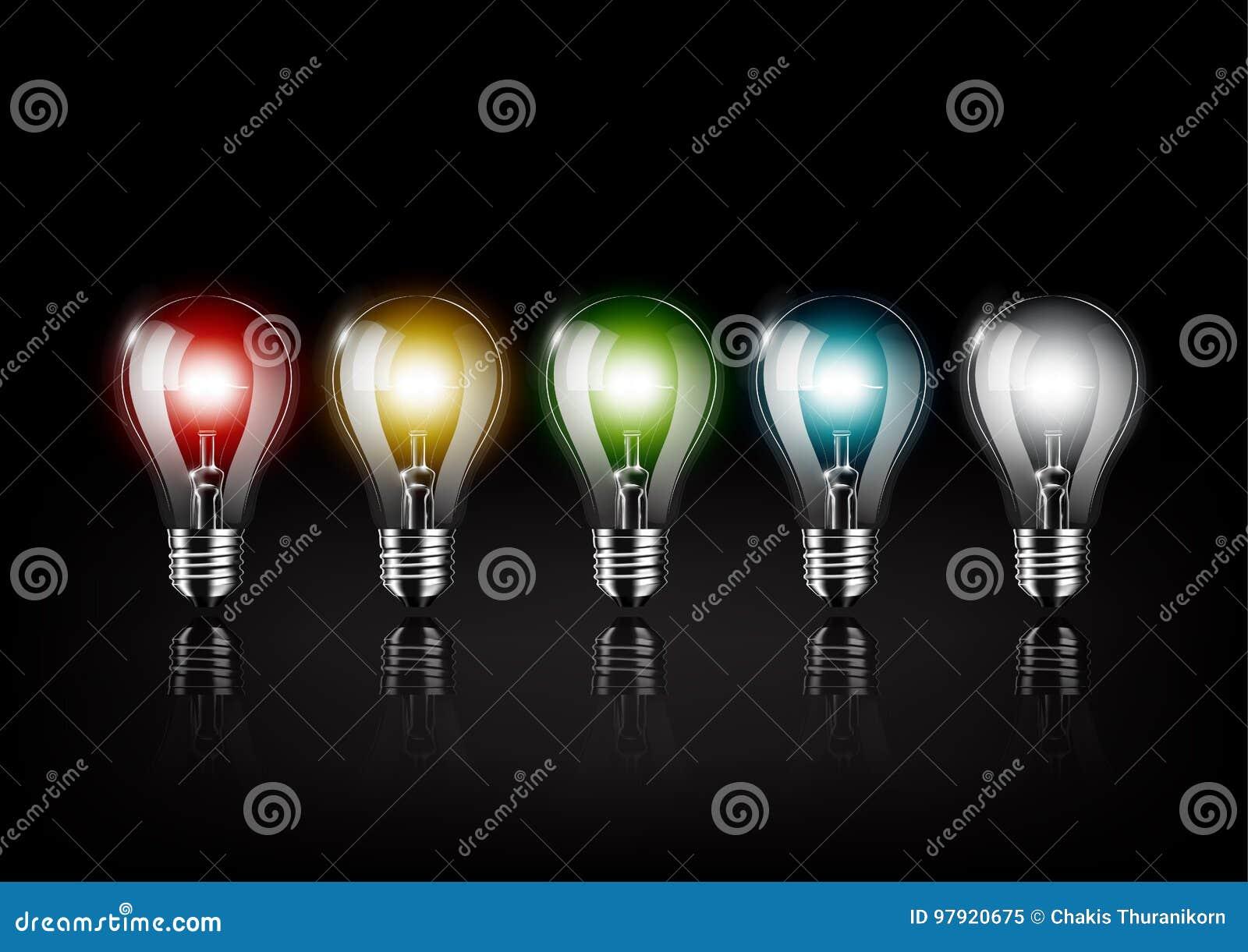 Den färgrika ljusa kulan glöder på svart bakgrund, begreppsidén, genomskinlig vektorillustration