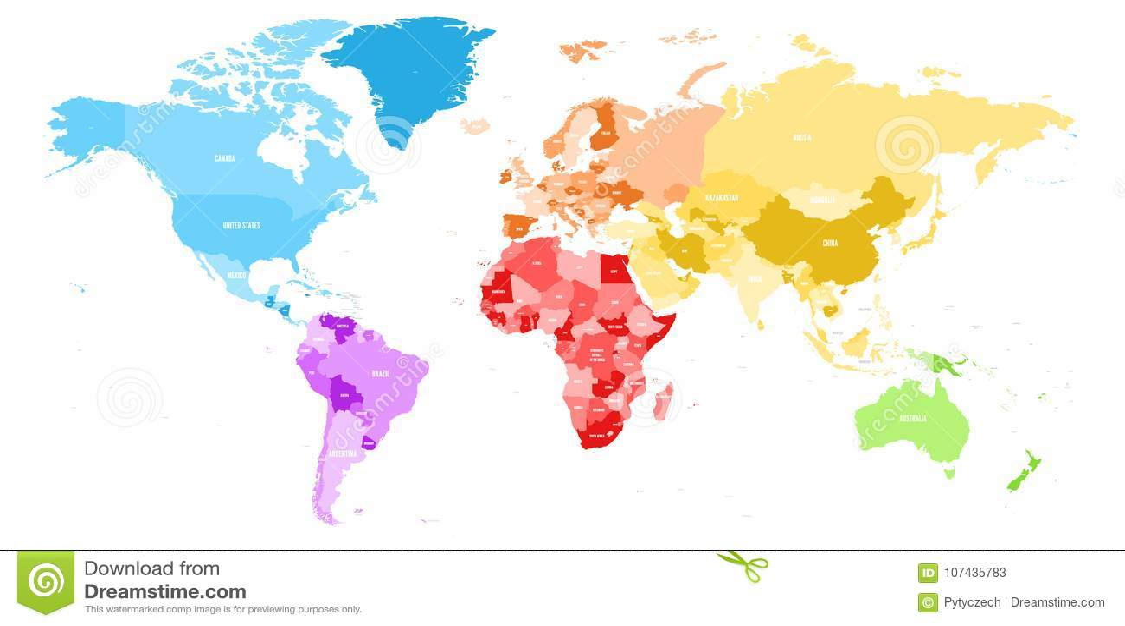Den färgrika politiska översikten av världen delade in i sex kontinent med etiketter för landsnamnet Vektoröversikt i regnbågespe