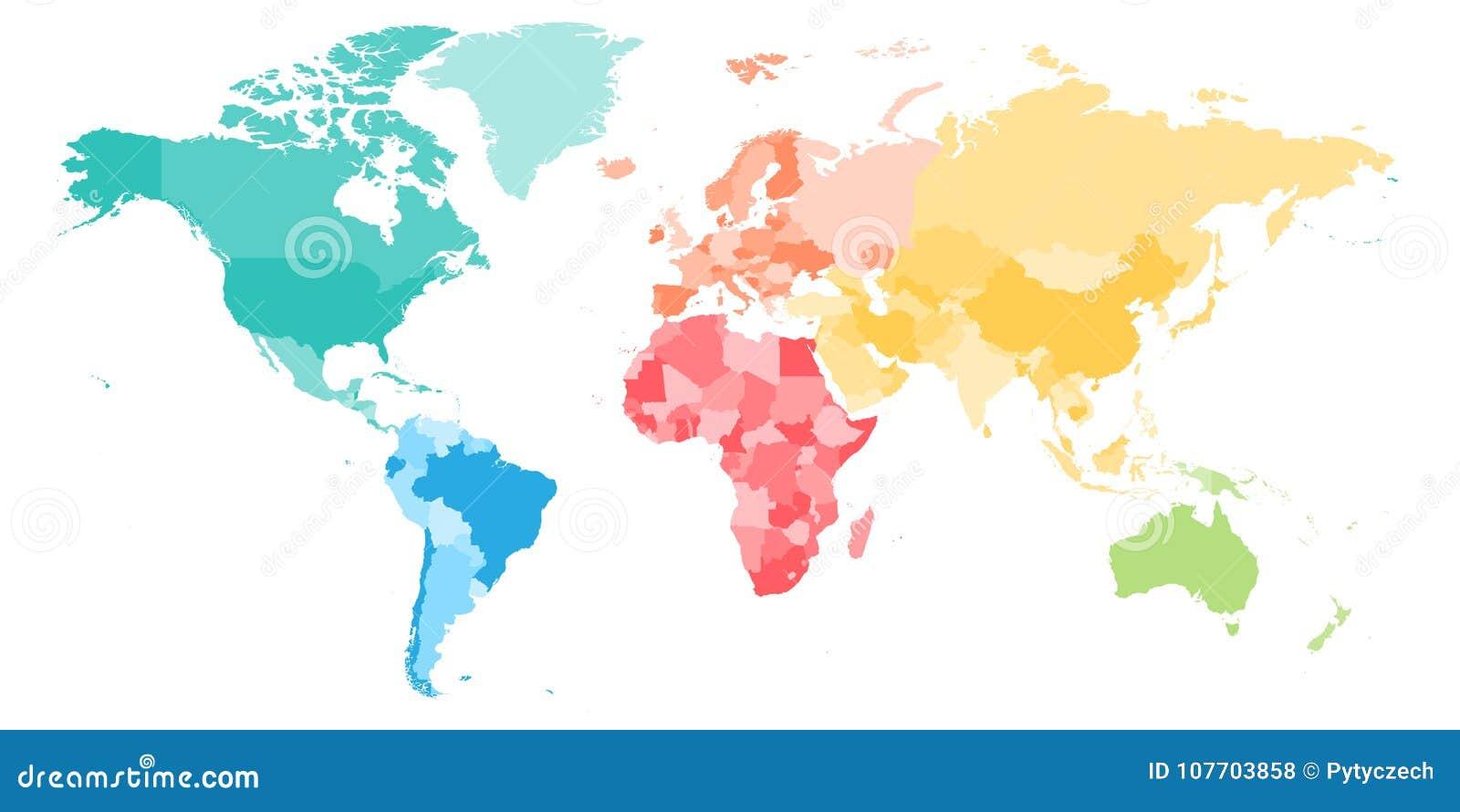 Den färgrika politiska översikten av världen delade in i sex kontinenter Tom vektoröversikt i regnbågespektrumfärger