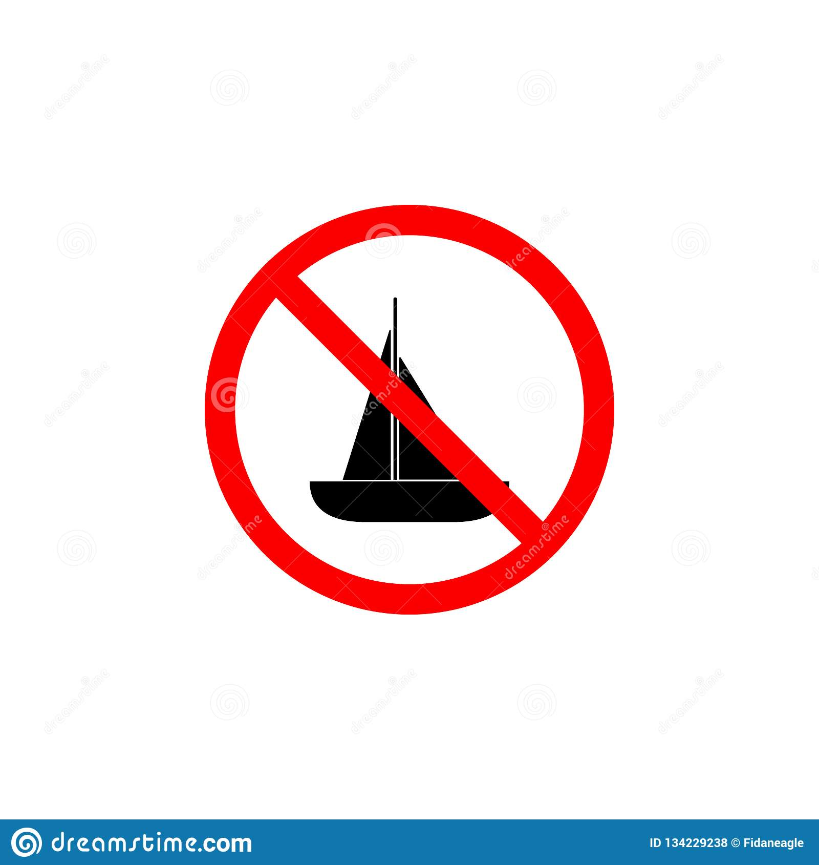 Den förböd fartygsymbolen på vit bakgrund kan användas för rengöringsduken, logoen, den mobila appen, UI UX