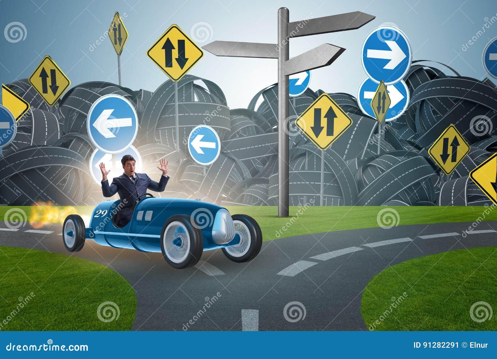 Den förvirrade affärsmannen som kör osäkerhet för bil im