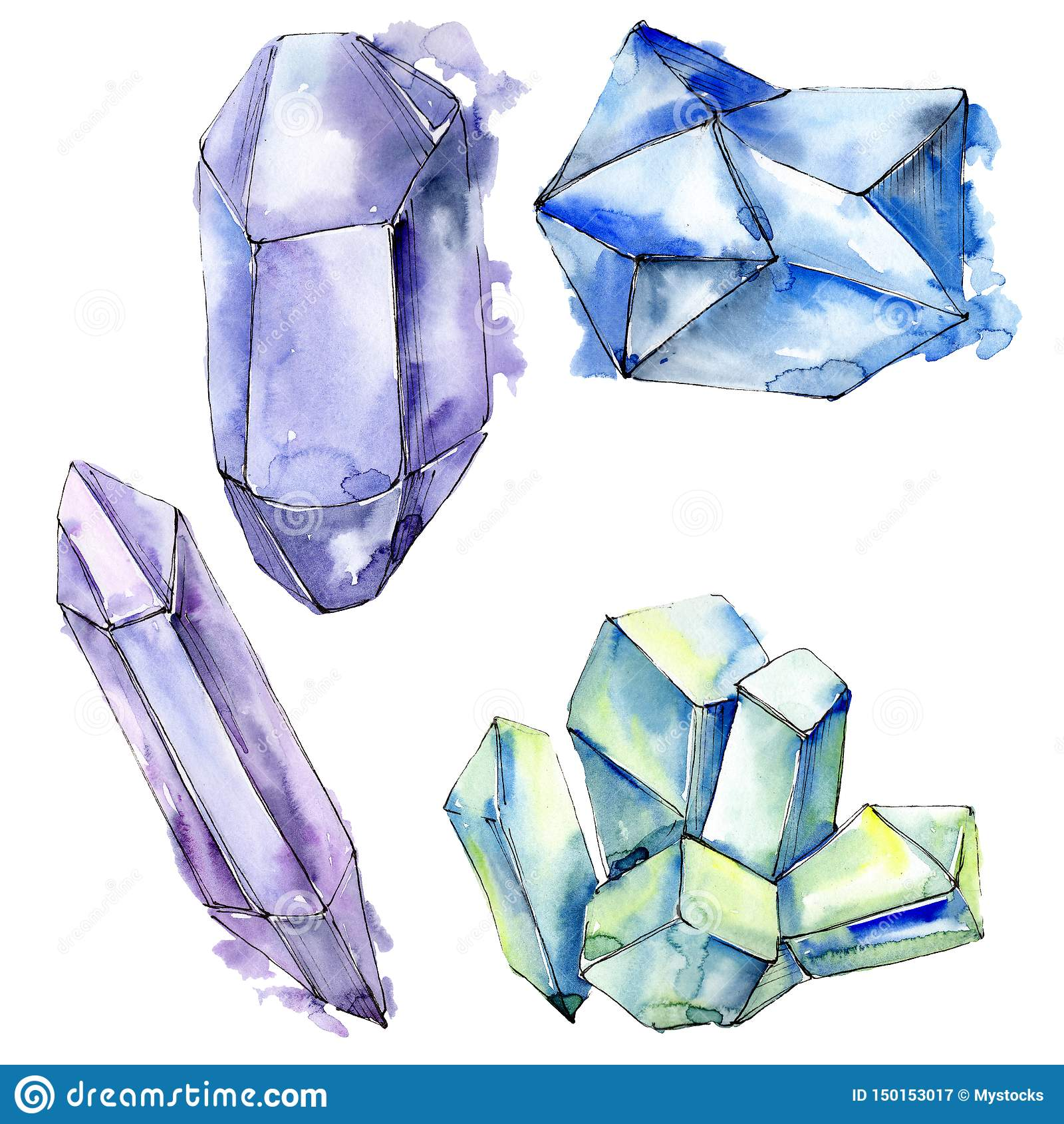 Den f?rgrika diamanten vaggar smyckenmineraler set vattenf?rg f?r bakgrundsgrunddesign Isolerad kristallillustrationbeståndsdel