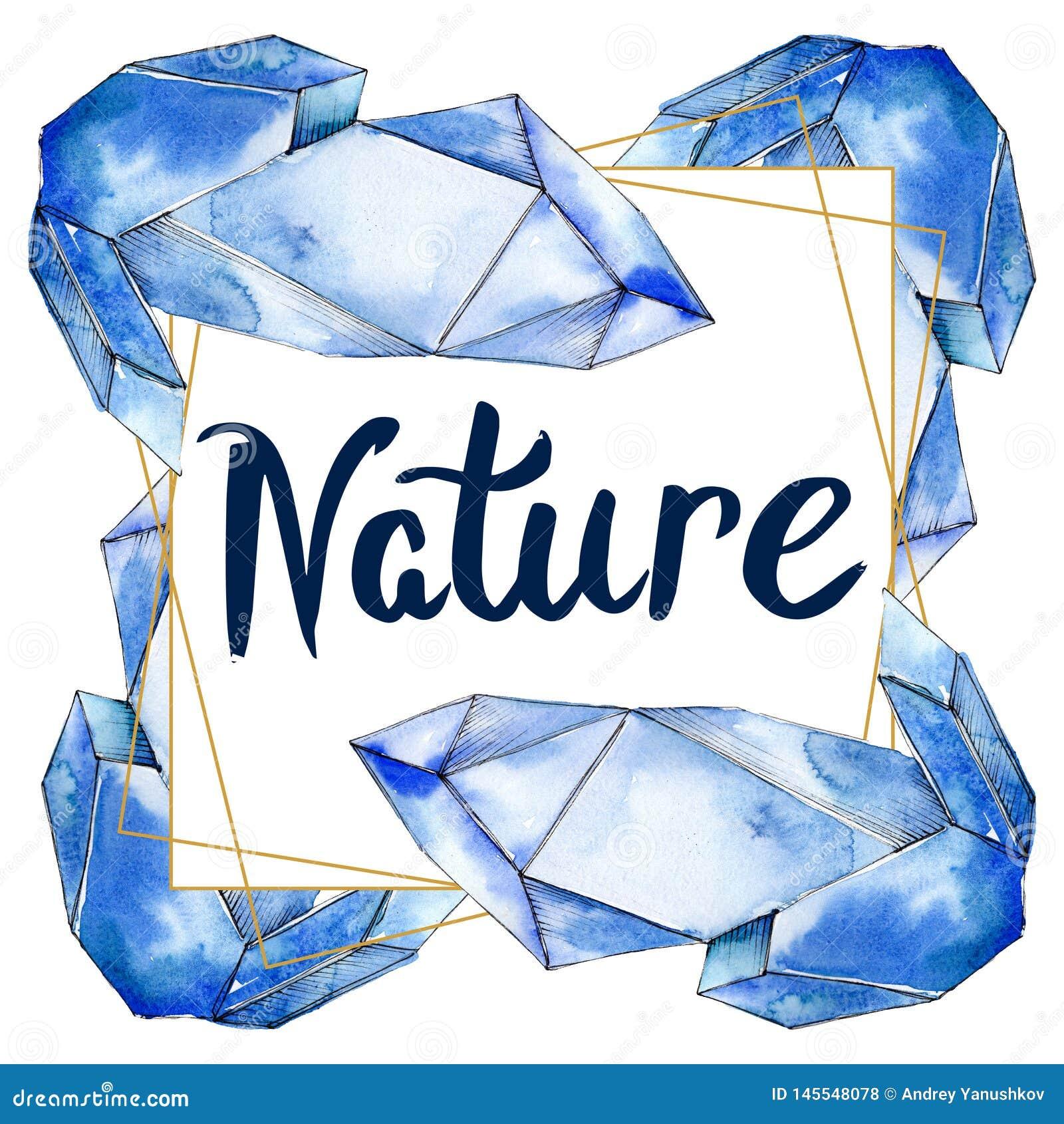 Den f?rgrika diamanten vaggar smyckenmineraler Upps?ttning f?r vattenf?rgbakgrundsillustration Fyrkant f?r ramgr?nsprydnad