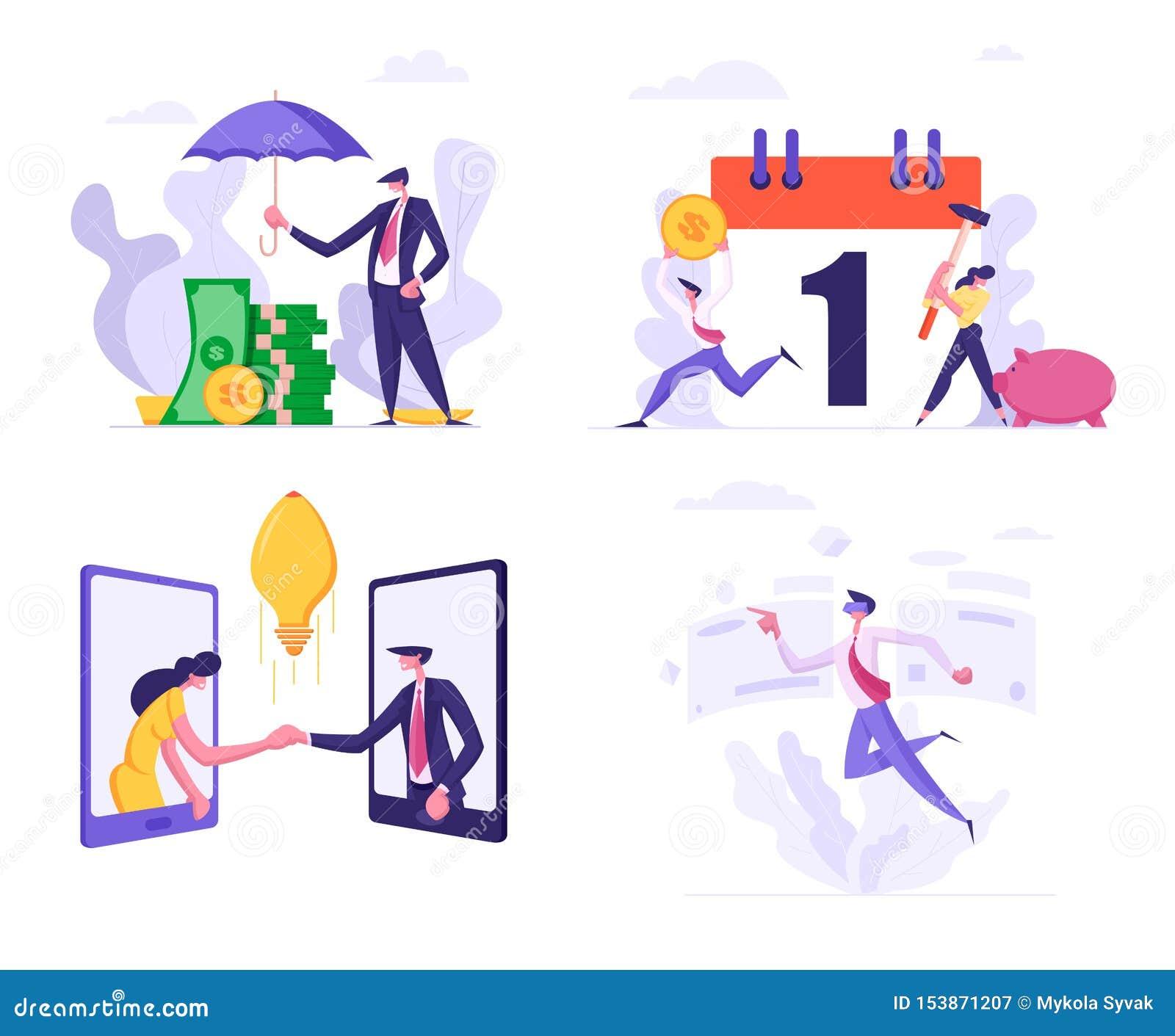 Den fastställda högen för räkningen för affärsmannen av sedelpengar med paraplyet, folk bryter spargrisen för skattbetalningschem