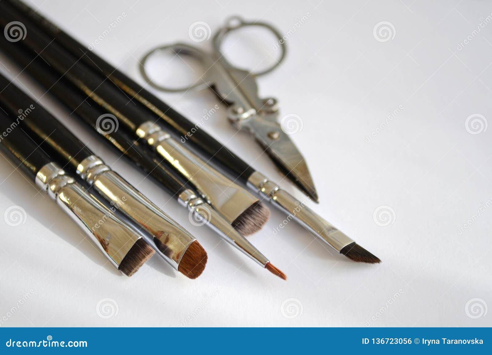Den fastställda hjälpmedelsminkkonstnären en uppsättning av olika borstar för makeupkonstnär och sax ligger i hörn