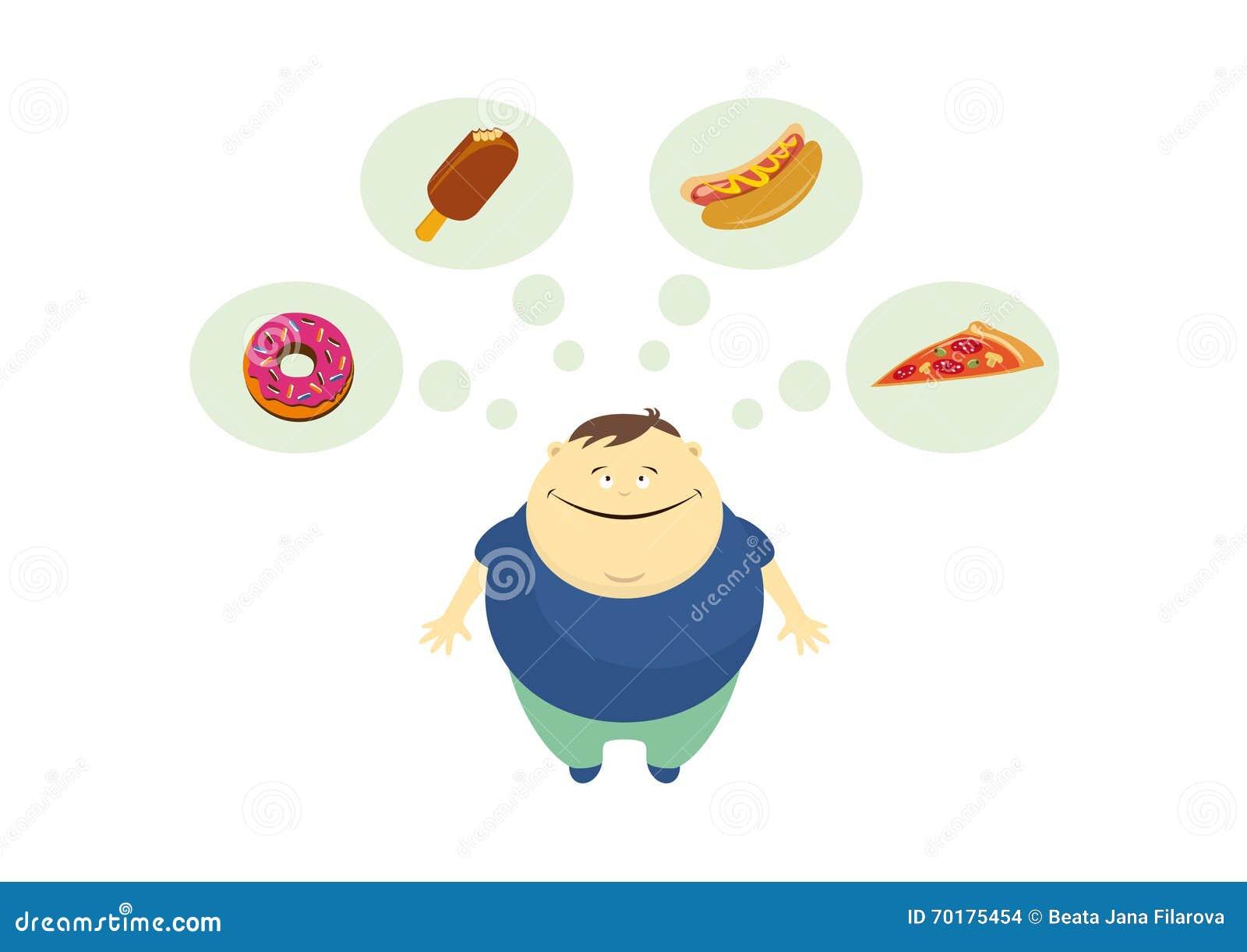 Den feta grabben tänker om matvektor