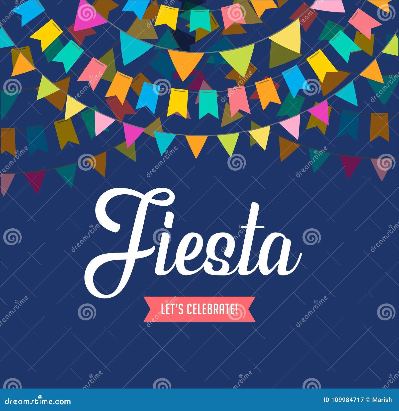 Den Fiestabanret och affischen planlägger med flaggor, garneringar