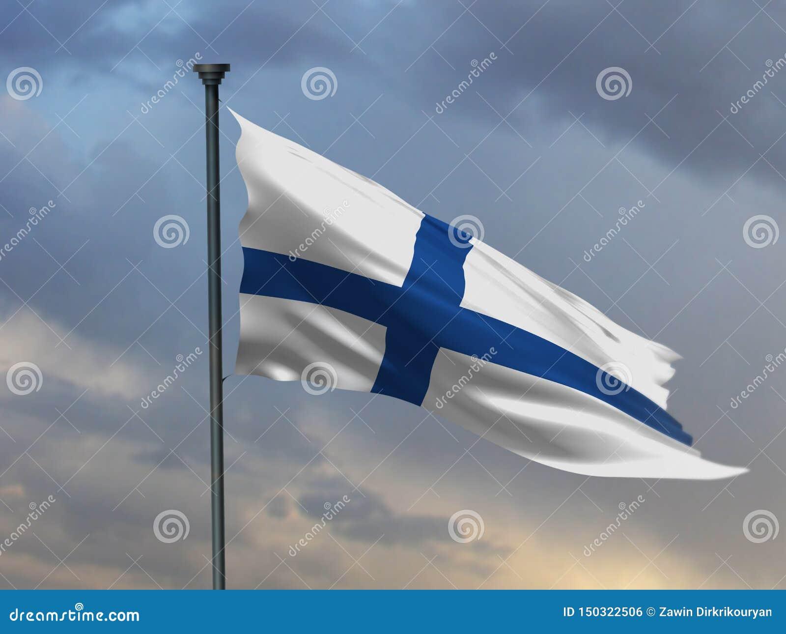 Den finlandssvenska flaggan, Finland färgbakgrund, 3D framför
