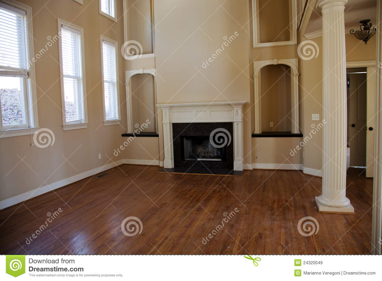 Den With Fireplace Stock Image Image Of Interior Elegant