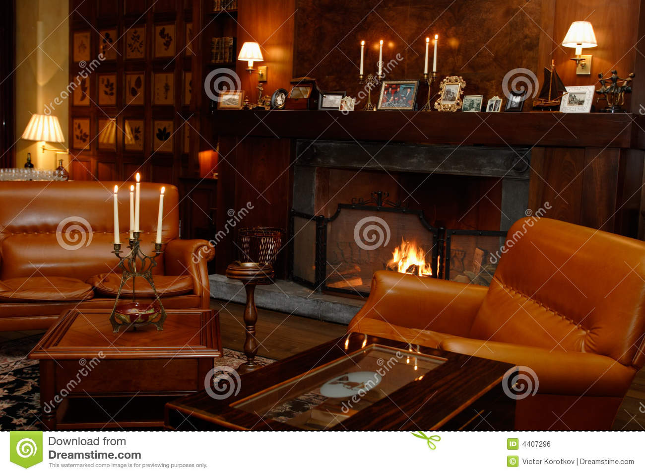 Den Fireplace Leather Chairs Stock Photo Image 4407296