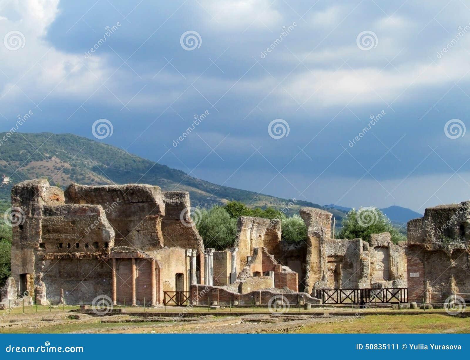 Den forntida antikviteten fördärvar av villan Adriana, Tivoli Rome