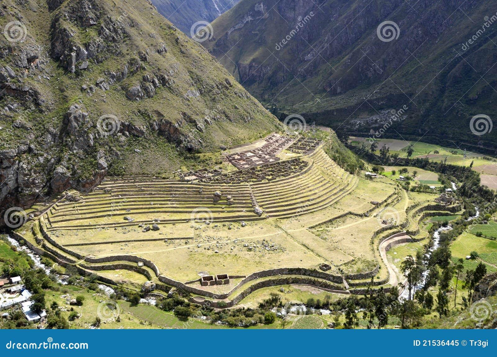 Den forntida incallactapataen fördärvar urubambadalen