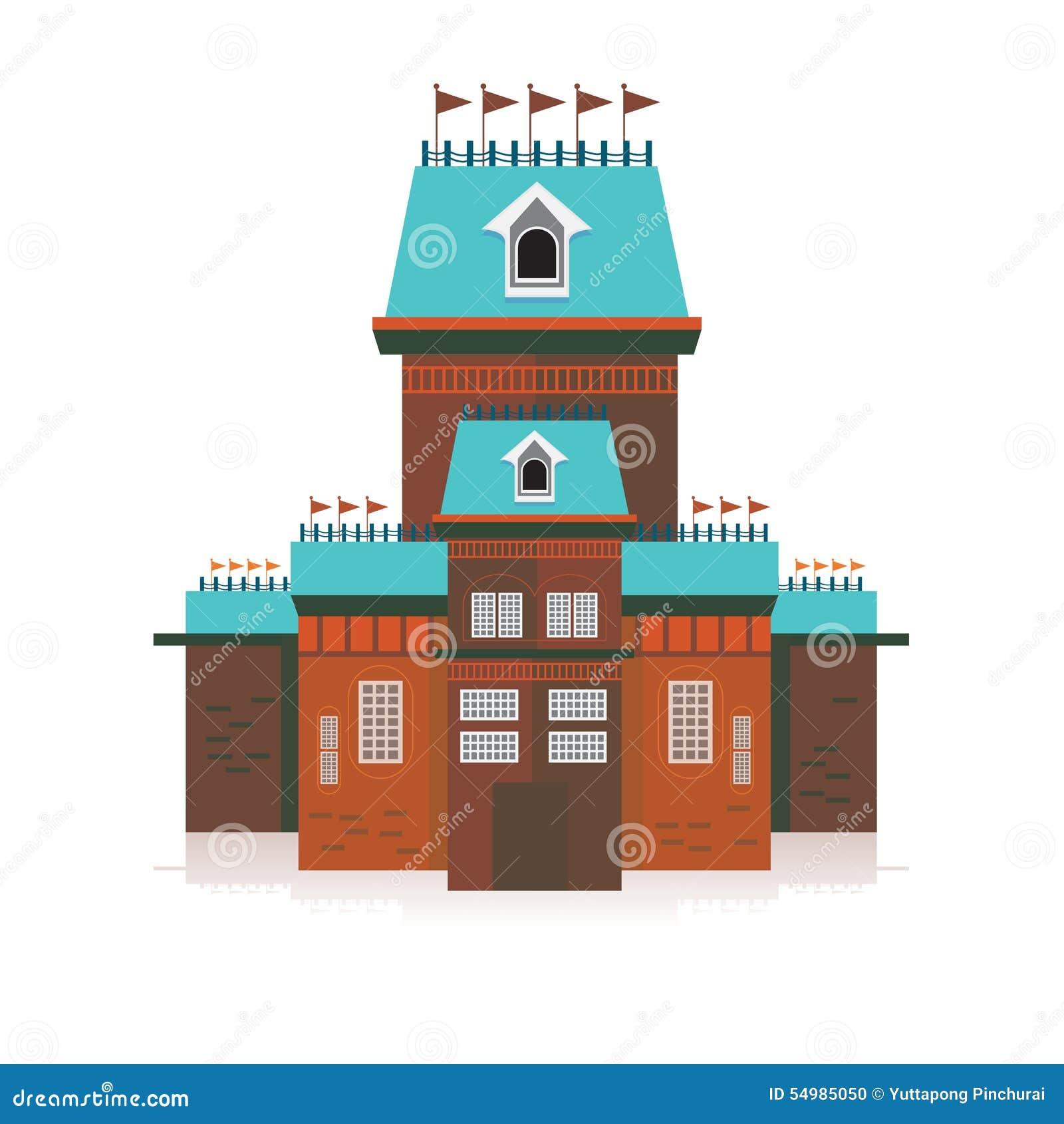 Den forntida slotten som dekoreras med flaggavektorillustrationen, är