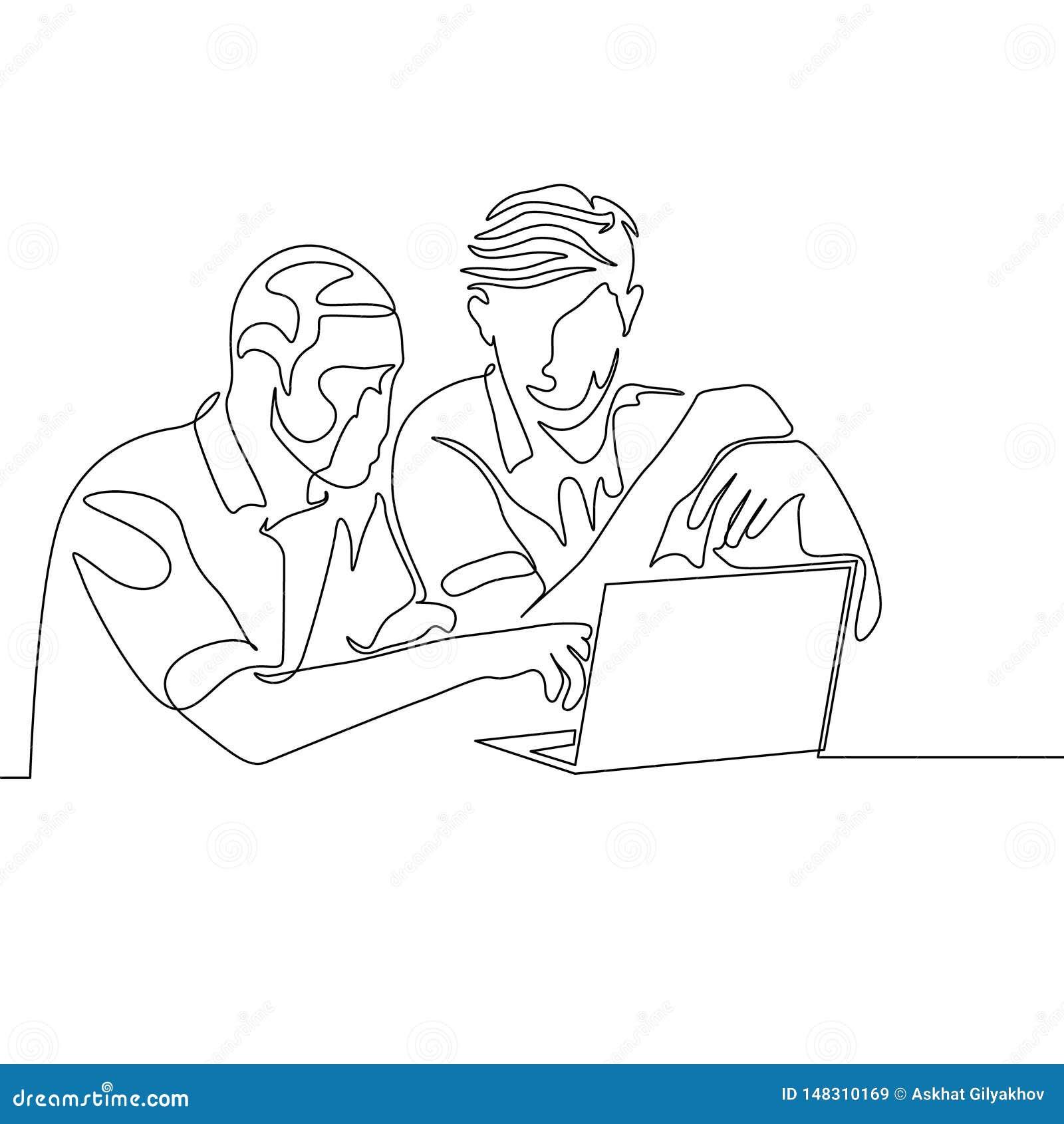 Den fortlöpande en linjen teckning två mans arbete samman med hjälpbärbara datorn