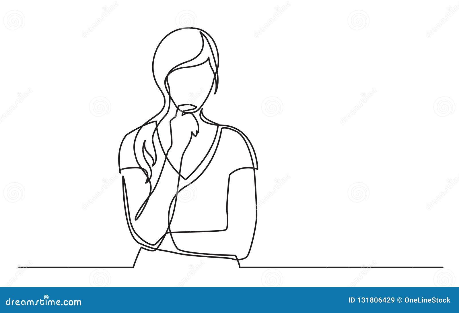 Den fortlöpande linjen teckning av kvinnan förväxlade att tänka