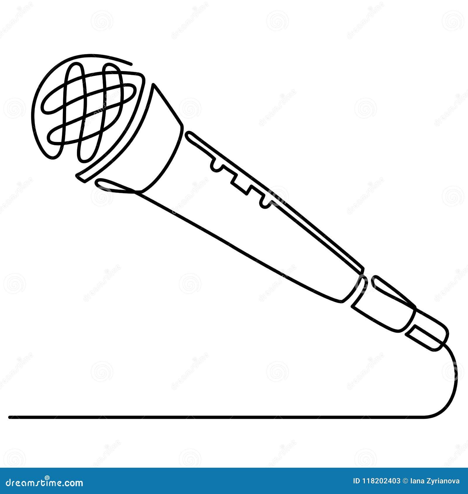 Den fortlöpande linjen teckning av vektorn band den tunna linjen för mikrofonsymbolen för rengöringsduken och mobilen, modern min
