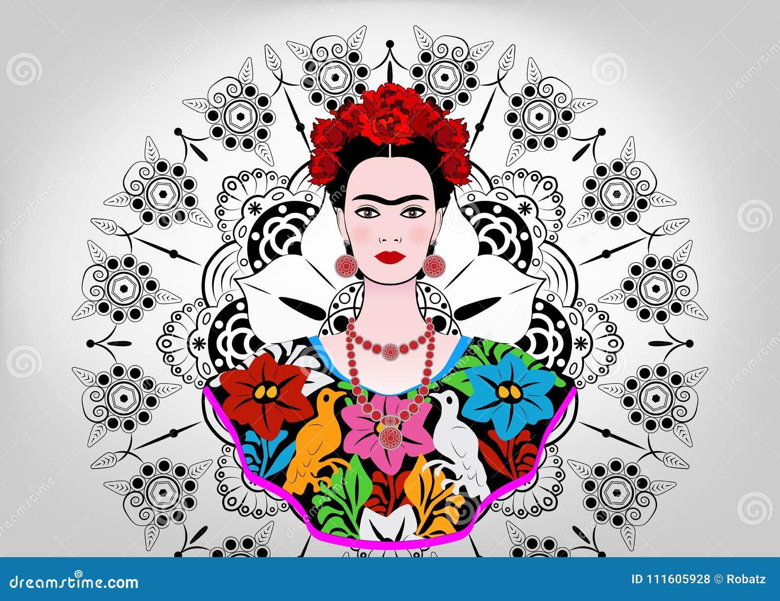 Den Frida Kahlo vektorståenden, den unga härliga mexikanska kvinnan med en traditionell frisyr, mexikan tillverkar smycken och kl