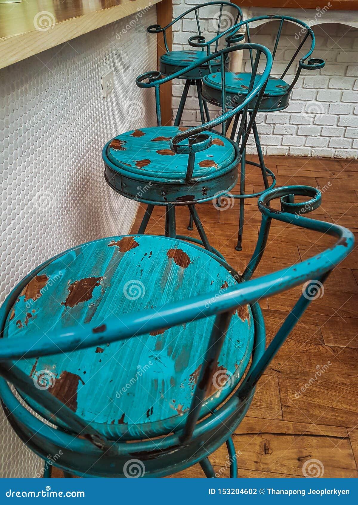 Den gamla blåa stolgarneringcoffee shop