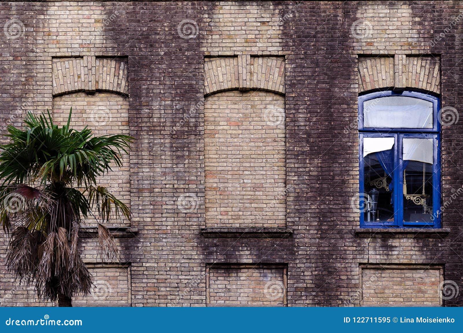 Den gamla tegelstenväggen med tre fönster, falska två, ett med exponeringsglas och blått färgar ramen som är liten gömma i handfl