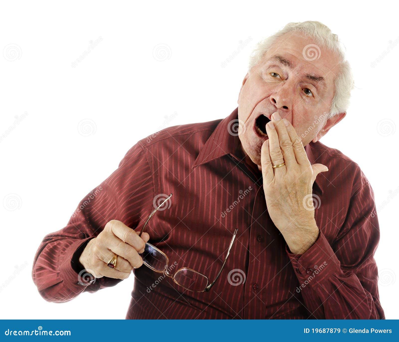 Den gammala mannen tröttnar