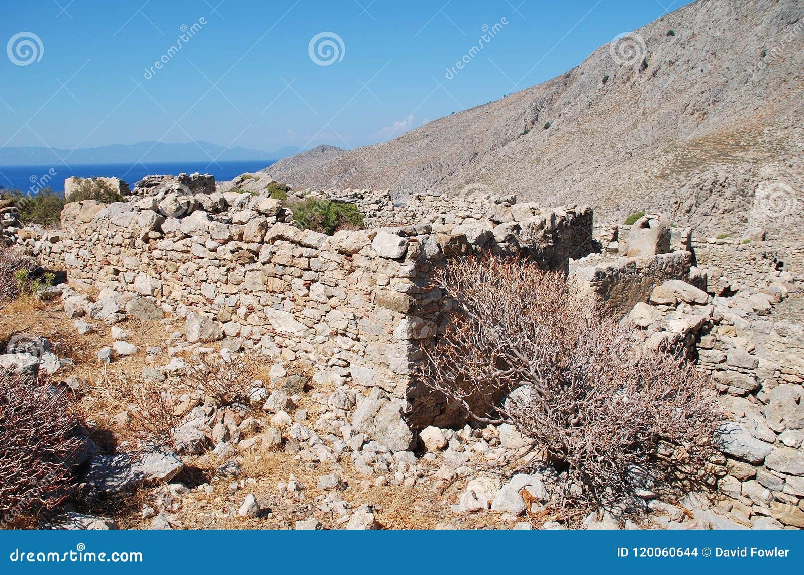 Den Gera byn återstår, den Tilos ön