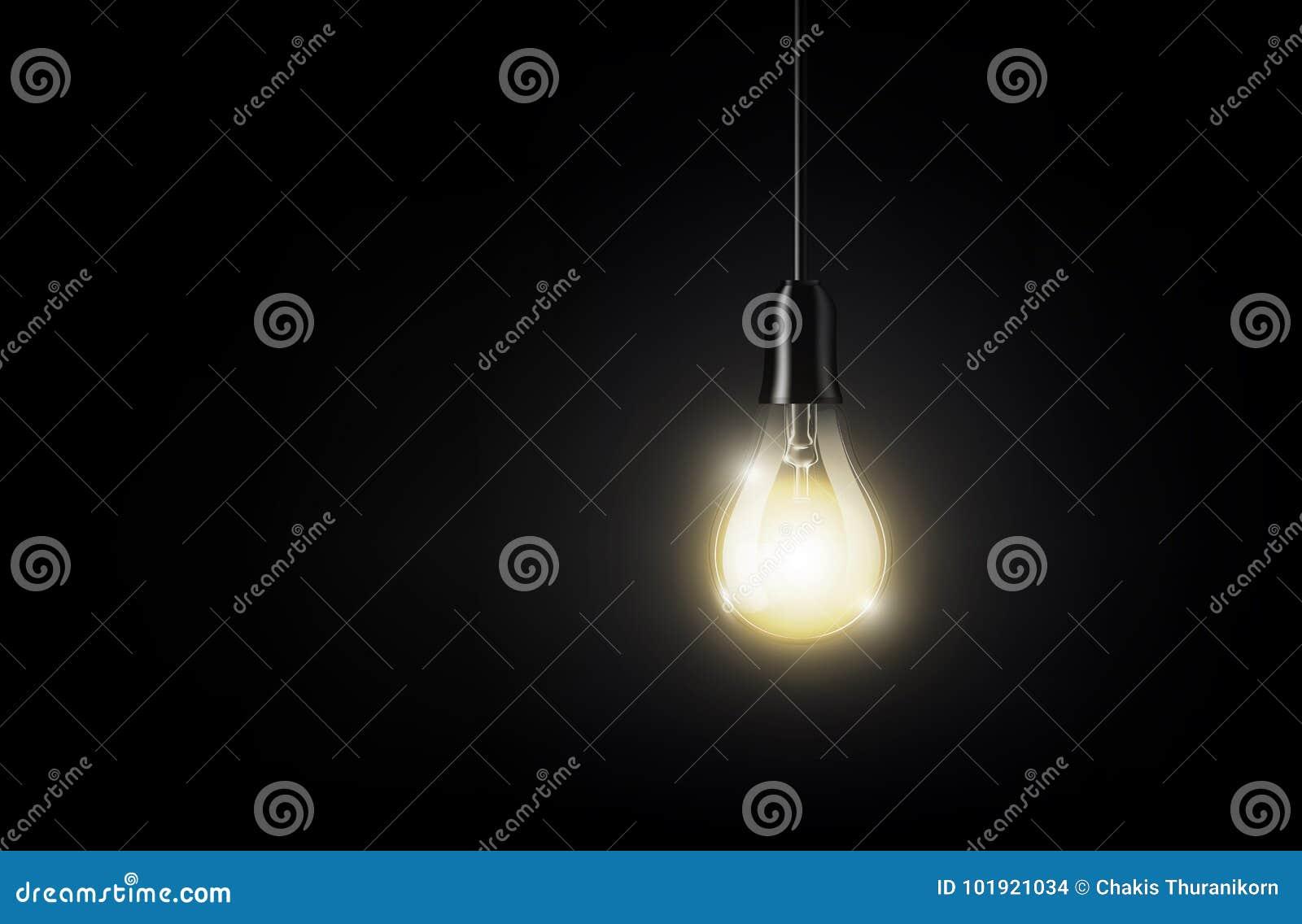 Den glödande ljusa kulan hänger på bakgrund för mörk svart för kopieringsutrymme, isolerad genomskinlig vektorillustration