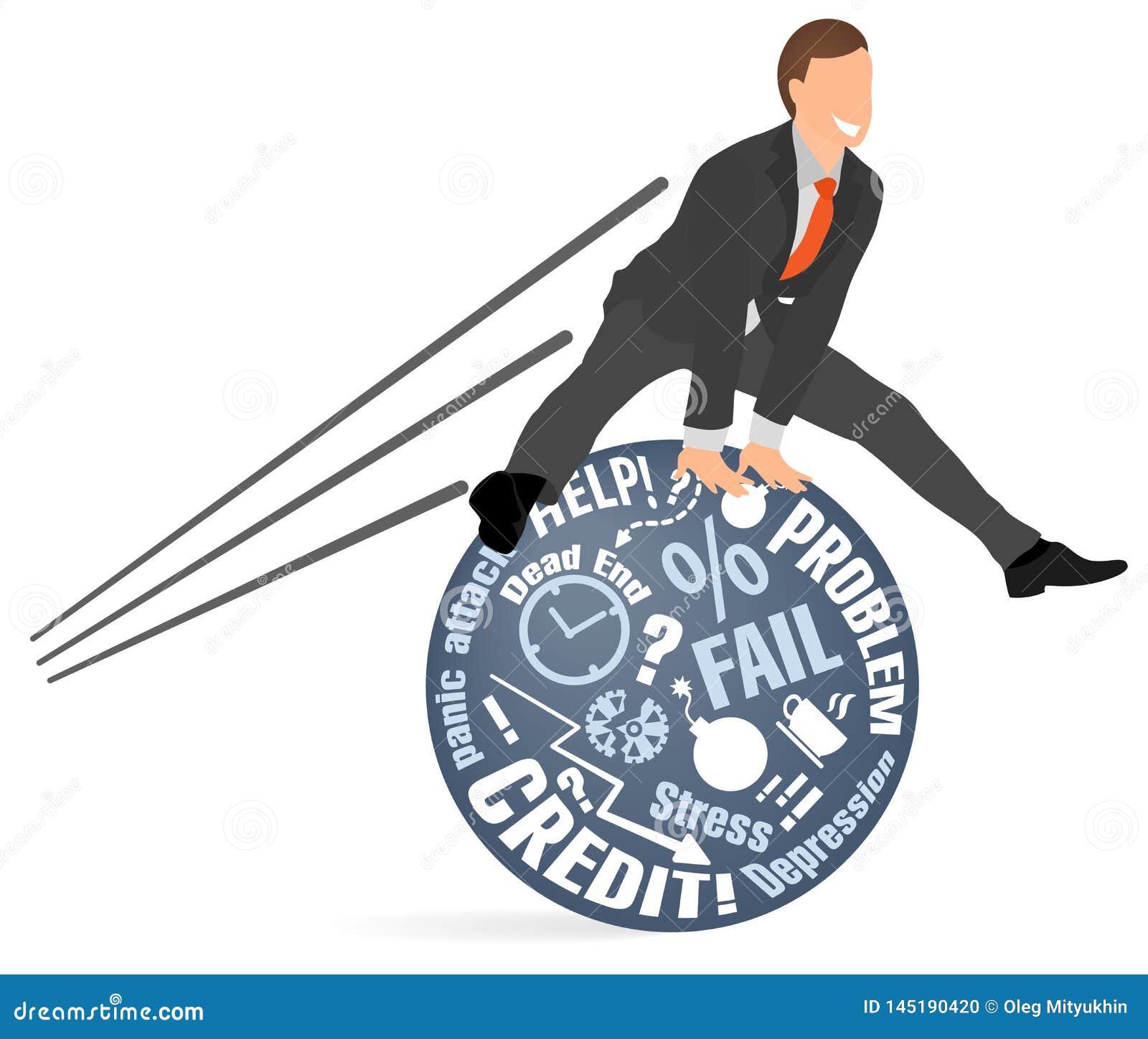 Den gladlynta affärsmannen hoppar över hans problem och skräck Begrepp av mental emotionell jämvikt som ner lugnar, spänning