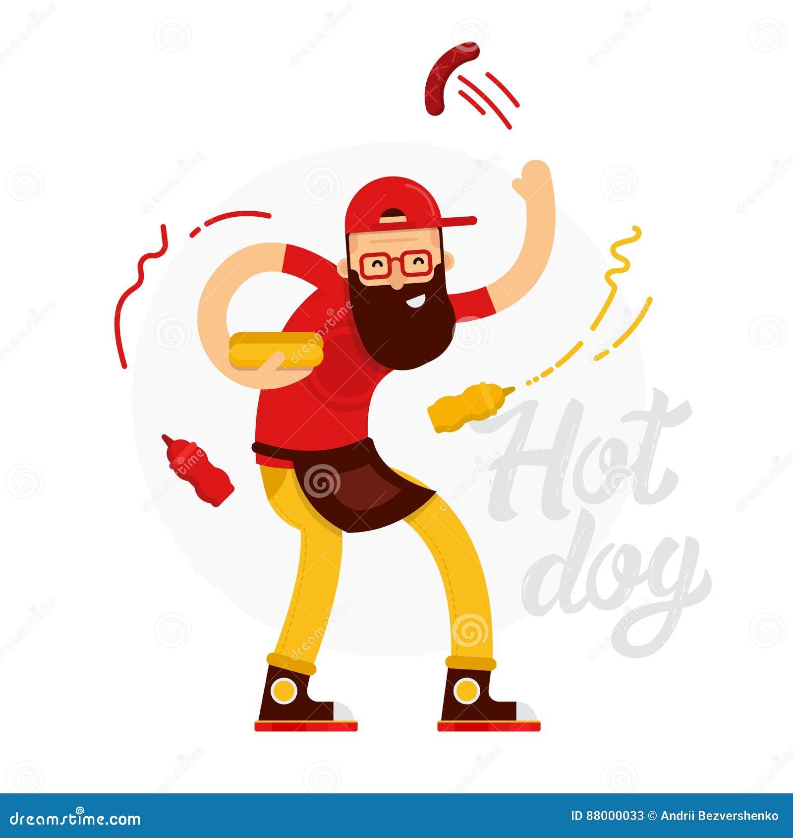 Den gladlynta varmkorvsäljaremannen gör varmkorven med ketchup och senap