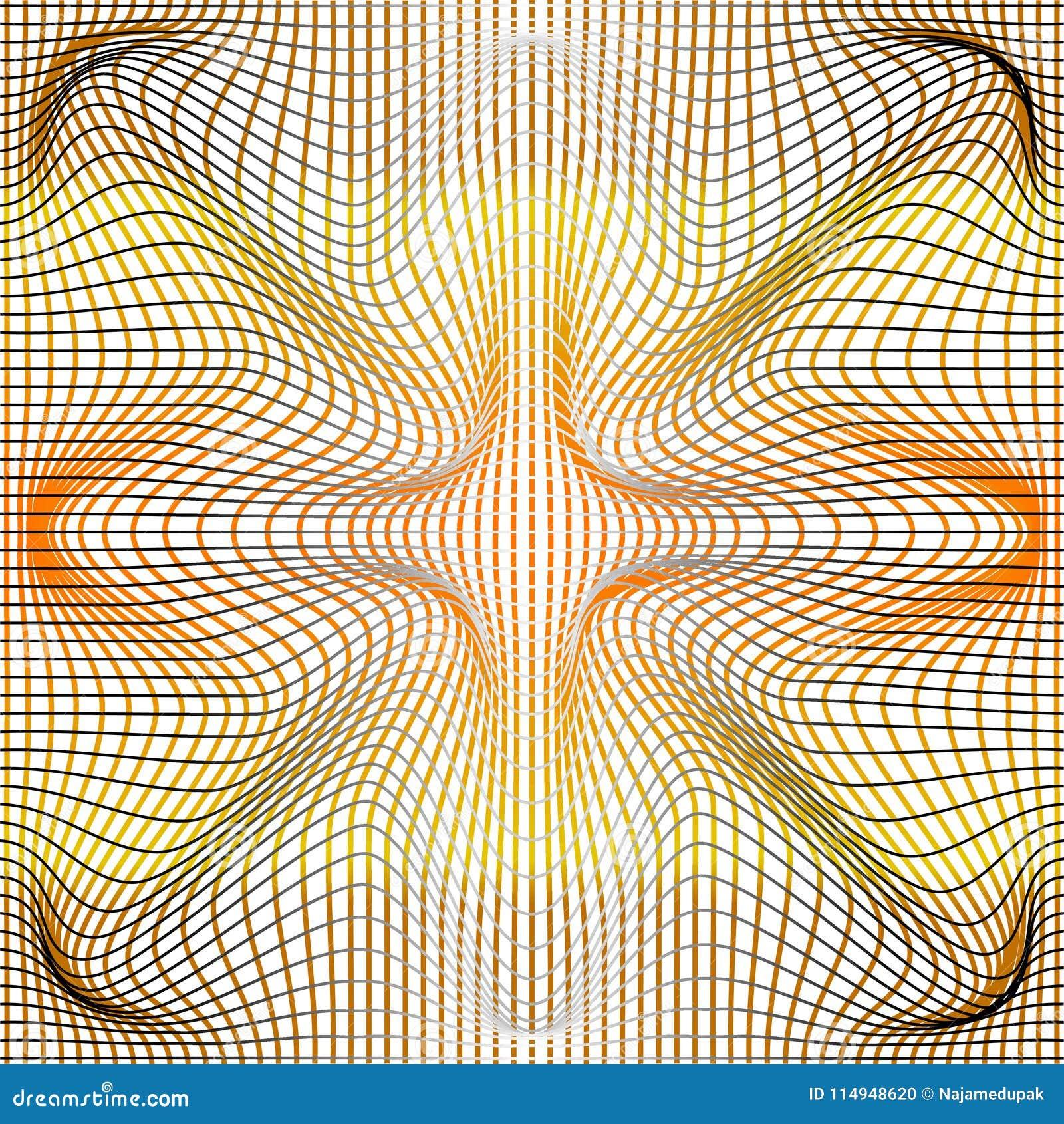 Den grå vektorillustrationen av lutningen som är guld- och, förvrider, och deformering netto eller ingreppet snedvrider textur