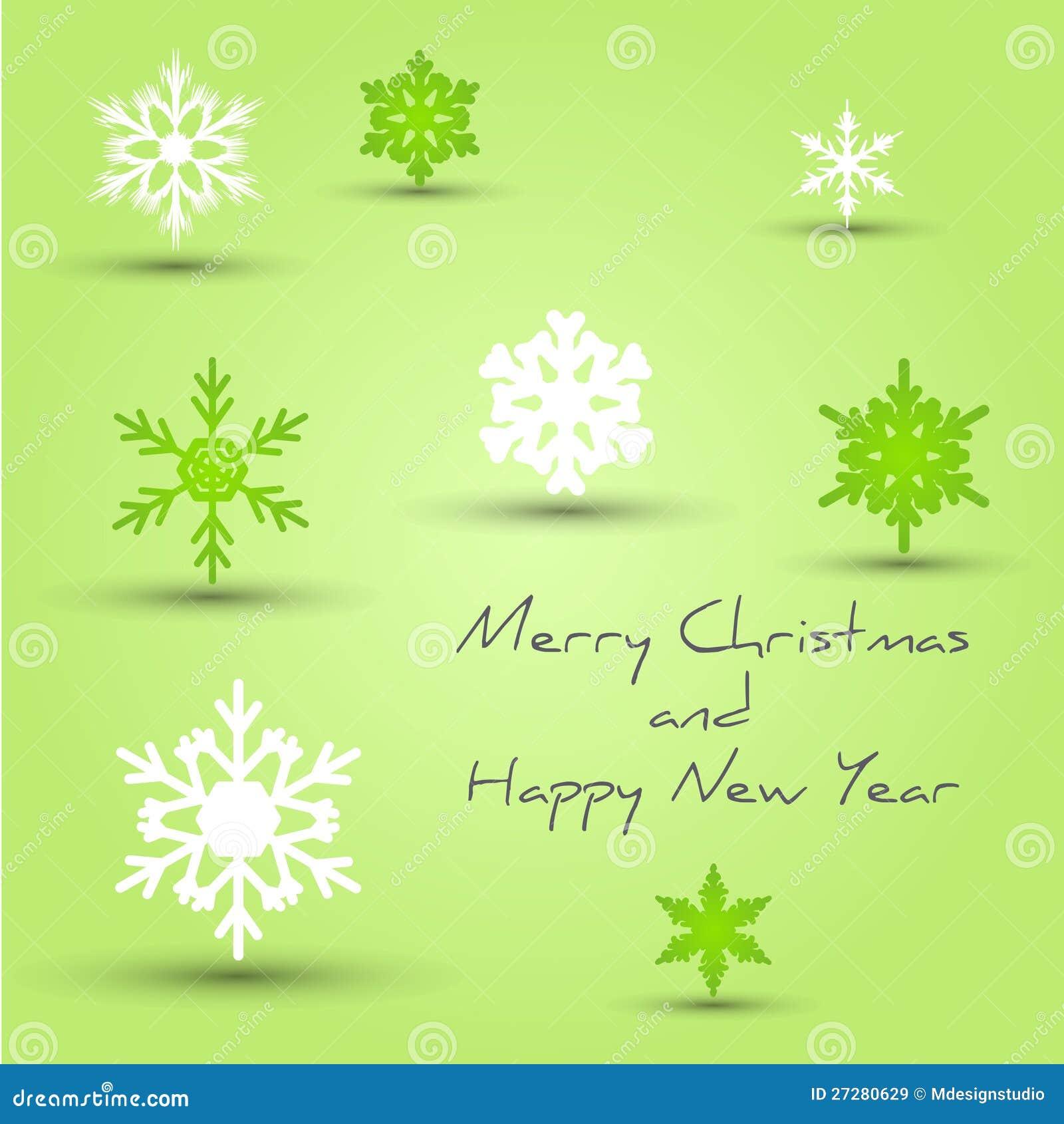 Den gröna snowflaken att gifta sig julkortet