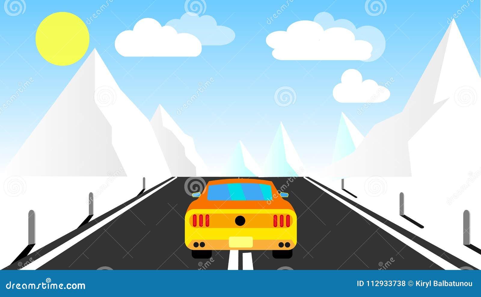 Den gula sportiga snabba härliga kraftiga bilen rider på vägen i bergen i vinter mot en bakgrund av moln och kopieringsbrunnsorte
