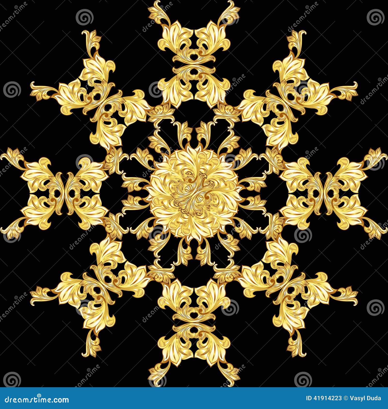 Den guld- blomman mönstrar