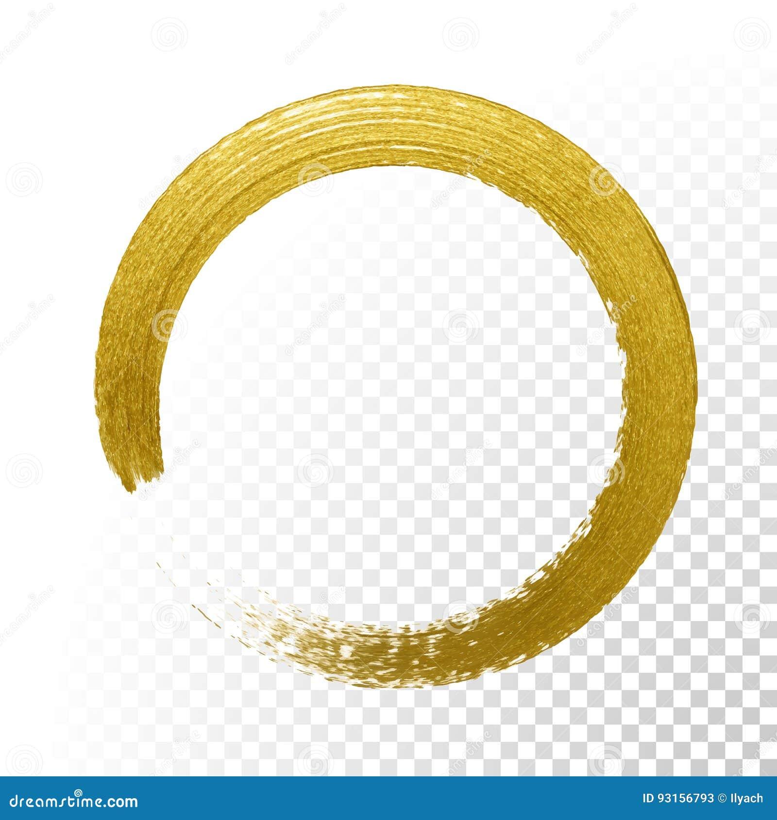 Den guld- cirkeln blänker texturmålarfärgborsten på genomskinlig bakgrund för vektor
