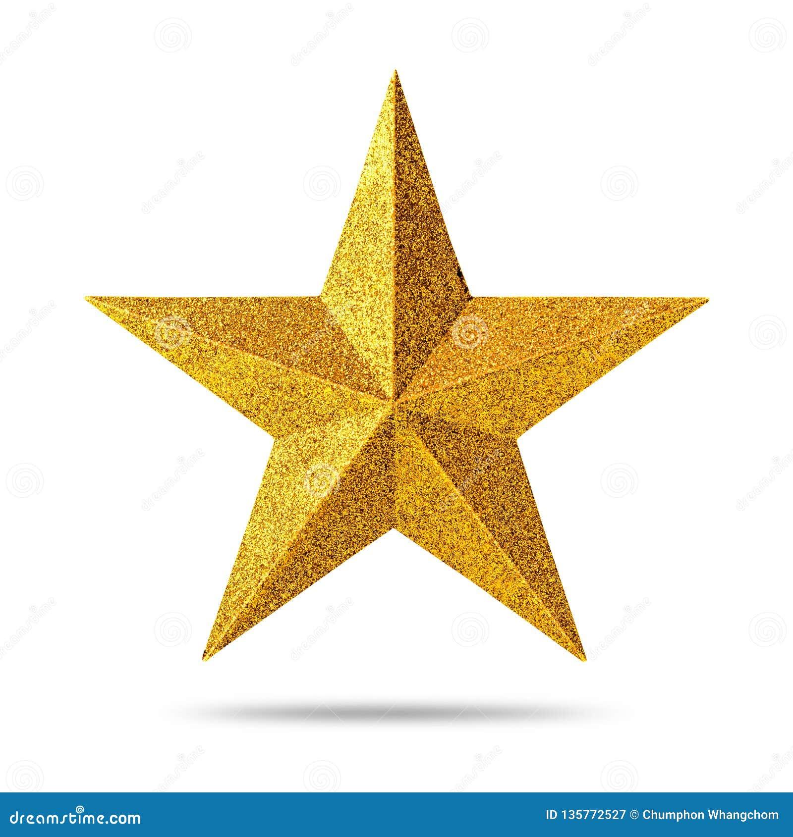 Den guld- stjärnan med blänker textur som isoleras på vit bakgrund julen dekorerar nya home idéer för garnering till