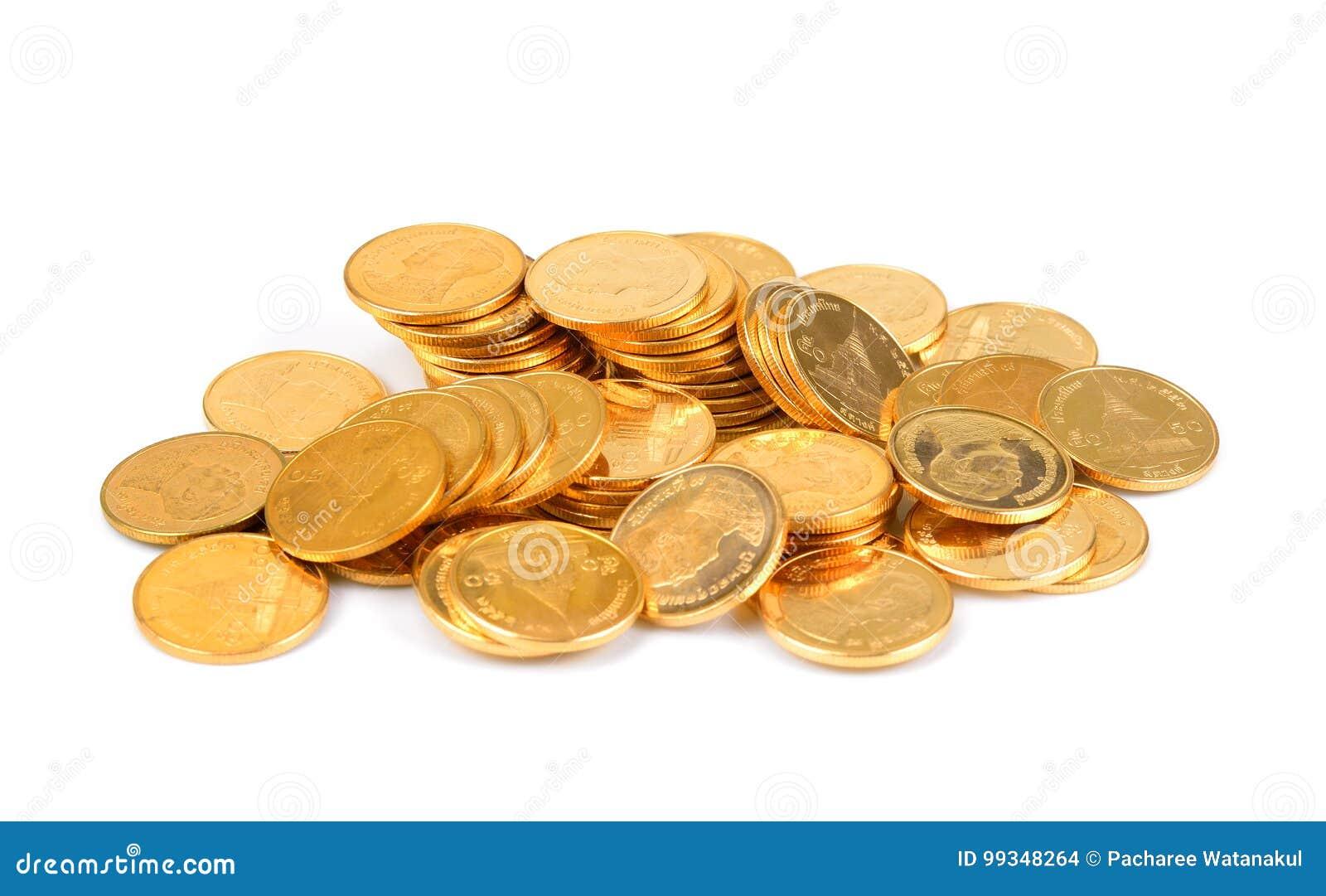 Den guld- thailändska bahten, pengar, det thailändska myntet, thai mynt för pengar badar trappan