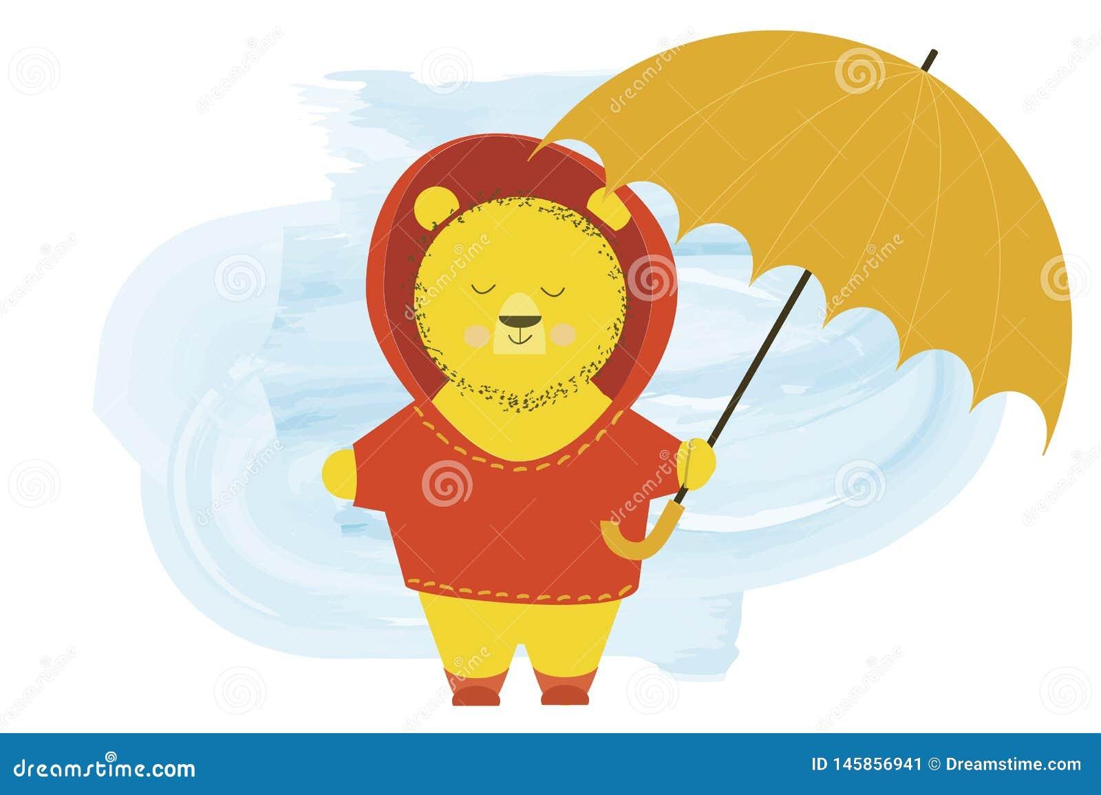 Den gulliga björnen i en huv står med ett paraply - illustration för vektor för tecknad filmtecken